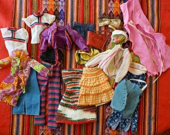 Barbie Clothes Lot Vintage Barbie Clothes 70s Barbie Dresses Barbie Skirt 18 pieces Shirts Doll Clothes Vintage Barbie Hippie Shorts