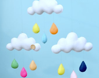 Hand made children's decorative cloud mobile, nursery decor.