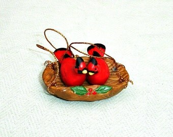 RARE Cardinal Birds in Nest Christmas Ornament - Made in Japan