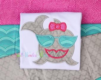 Girls Shark Shirt  - Shark Embroidered Shirt - Summer Shirt -  Diva Shark Shirt - Girls Shirt - Girls Summer - Beach Shirt - Shark Tee