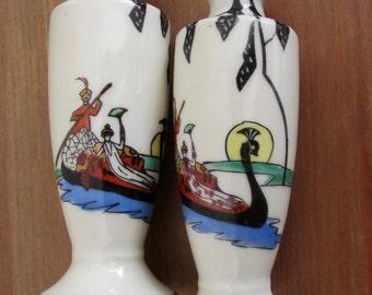 Salt & Pepper Shakers Peacock Boat Oarsman Lady Traveler Made in Japan Vintage