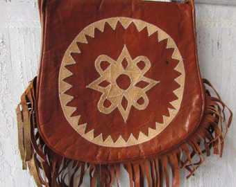 Vintage genuine leather fringed hippie shoulder bag groovy bag