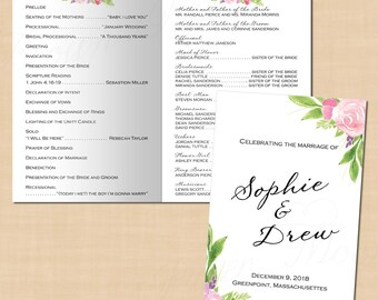 Bohemian Floral Wedding Program Booklet, Watercolor Pink Peony Roses (Folds to 5.5 x 8.5): Text-Editable in Word, Printable Instant Download