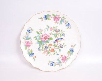 Vintage Aynsley Pembroke Dessert Plate England English Platter Hand Painted Flowers Bird Raised Porcelain Gold Trim Blues and Pinks