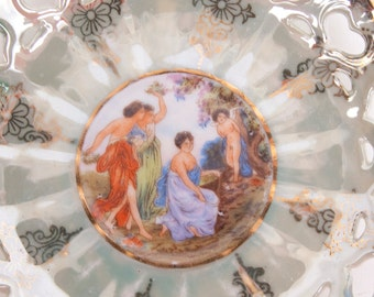 Vintage Painted Maidens Saucer Lefton China Saucer 20583 Reticulated Hearts Green Handpainted Design Made in Japan