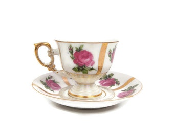 Vintage Pink Rose Teacup Saucer Made in Japan Footed Demitasse Tea Cup Iridescent Handpainted Heavy Gold