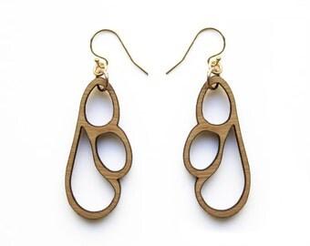 Wooden earrings - laser cut wooden jewellery - wooden dangle earrings - earrings for work - wooden drop earrings