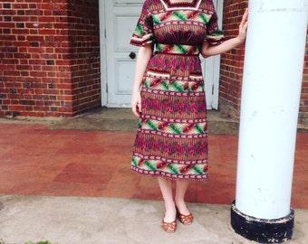 1980s Aztec Print Midi Dress