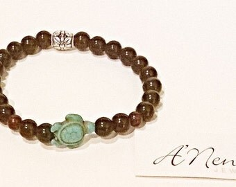 "Men's Bracelet: Jasper,Turquoise Turtle , Quartzite & Silver Plated Copper ""Nautical Quest"" By ANena Jewelry"