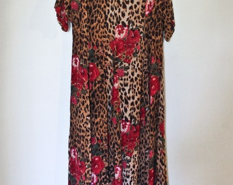1990s Vintage Leopard Print Floral Gauze Maxi Dress