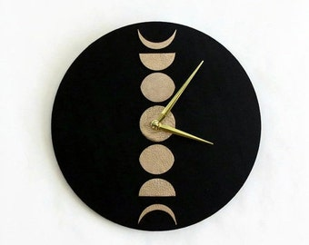 Wall Clocks, Moon Phase, Lunar Cycle,  Black and Rose Gold Leather, Faux Leather, Home and Living, Home Decor Wall Clocks