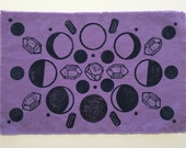 Lavender Altar Cloth with Lunar Moon Phases and Cycle Printed with Crystals in Geometry