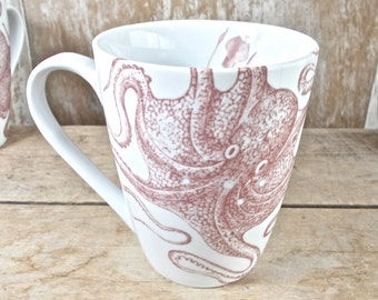 Squid Mug, Left Handed, DISCOUNTED SECOND, Octopuses, Tentacles, Octopus Cephalopods Coffee Cup, 14 oz Mug, Ocean Biology, Ready to Ship