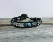 Blue Opal Men Leather Wrap Bracelet/Japanese Jewelry/Blue Gray Black Stones/ Fathers Day Gift/Christmas Stocking Stuffer/ His Birthday