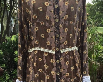 Izzy Roo Western Romance Vintage 20s Style Prairie Tunic Antique Shabby Chic Lace Plus Size