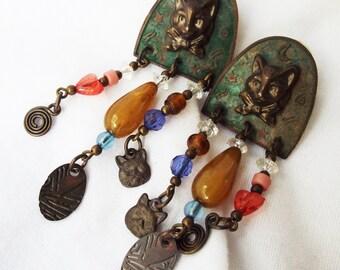 Vintage Beaded Cat Earrings Glass Metal Pierced Dangle Pair