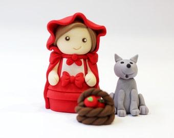 Little red riding hood ridinghood fondant topper cake set - Nursery rhyme fondant topper