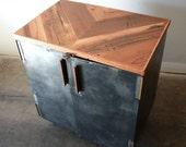 Industrial Liquor Cabinet- Metal Wine Cabinet- Reclaimed Wood Minibar- Vinyl Record Storage- Loft Storage Locker- Midcentury Hairpin Legs