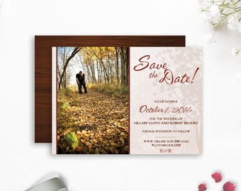 Rustic Wedding save-the-date, Photo Save the Date, Rustic Country save the date, Oak Tree Wedding, Shabby Chic wedding, photo save-the-date