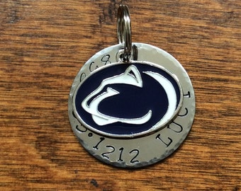 Penn state custom Dog ID Tag, Blue, Penn State nittany lions  Fan, Dog Collar, dog Tag phone number