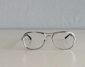 Vintage 1970s Aviator Eyeglasses / 70s NOS Silver Metal Aviator Wire Rim Frames Eyewear