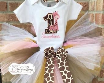 Giraffe tutu, giraffe Fabric Tutu, giraffe birthday, pink giraffe tutu, giraffe first birthday, giraffe tutu, giraffe birthday shirt tutu