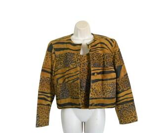 Leopard Print Jacket Animal Print Rocker Jacket 90s Leather Jacket Club Wear 1990s Leather Blazer Suede Jacket Women Brown Leather Jacket