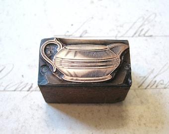 Antique Copper Letterpress Printers Wooden Block of a Milk Jug c1900
