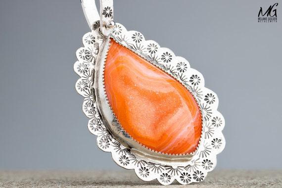 Raw Stone Tangerine Orange Druzy Agate Gemstone Necklace in Sterling Silver
