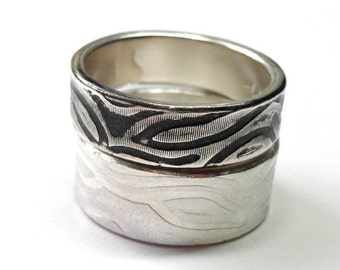 Zebra Ring, 5-6mm Recycled Sterling Silver, Oxidized or Non-Oxidized Stacking Ring, Zebra Stripe, Animal Print Bands,
