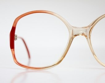 Vintage 80's Orange Red Eyeglasses Frames