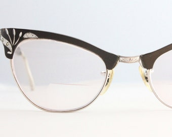 Vintage 50's 12K Gold Filled Rhinestone Aluminum Etched Espresso Cat Eye Eyeglasses