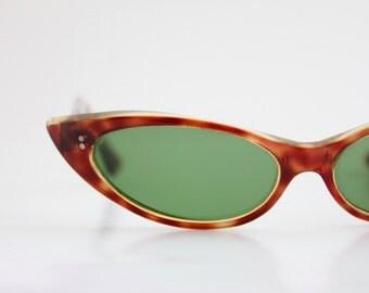 Vintage 50's Cognac Cat Eye Sunglasses
