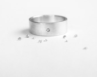 sterling silver wedding band with 1.5mm moissanite // wedding band for him / alternative wedding band / couples jewelry