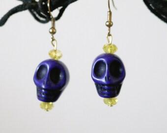 Sale Indigo Skull Earrings