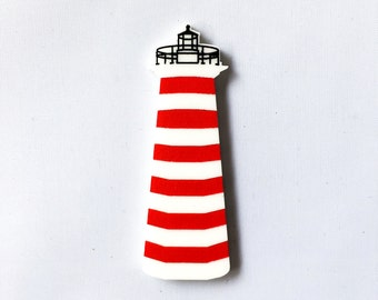 Acrylic laser cut camping lighthouse brooch hand painted inspired by the charming film Moonrise Kingdom Wes Anderson
