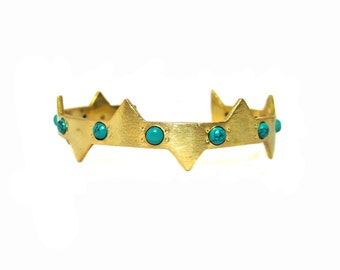 24kt. Gold Plated Cuff Bracelet setted turquoise Gemstone Cabochons , egyptian style piramid shape bracelet