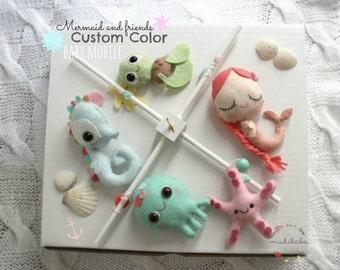 Mermaid Baby Mobile, The Little Mermaid, Ocean baby mobile, Ocean animals, Mermaid, star fish, baby seahorse, baby octopus, Baby shower