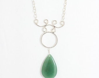 Adventurine and Sterling Silver Scrollwork Necklace -- Sterling Filigree -- Teardrop Adventurine -- Valentine's Gift -- Gift Necklace