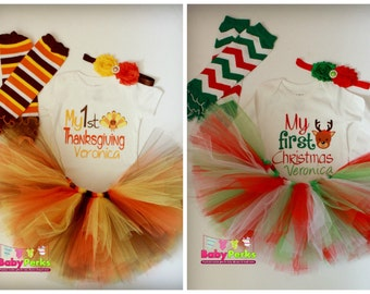 COMBO -Baby girl Christmas outfit ,Baby's 1st Christmas Outfit - Baby's First Thanksgiving Outfit  , Baby's First Thanksgiving Outfit