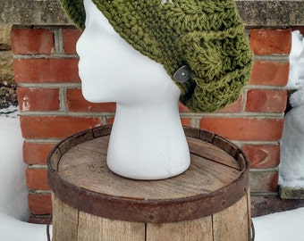 Green Slouchy with Brim and Button, Crocheted Brimmed Slouchy, Crochet Slouchy for Women, Womans Slouchy with Brim, Brimmed Slouchy