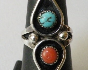 Native American Red Coral, Turquoise and Sterling Ring, size 7 1/2