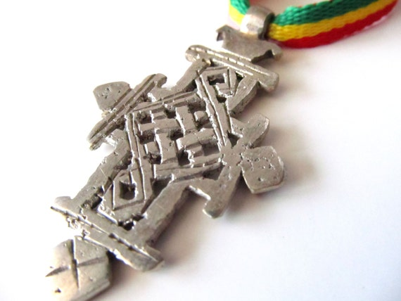 Rastafari Necklace Ethiopian Cross Pendant Rasta By Tswami