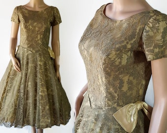 50s 60s Green Lace Dress Prom Vintage Wedding Circle Skirt Tulle