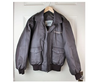 Vintage Leather Bomber Jacket- Men's Size Small- Burk's Bay- Like New- Dark Brown Pebbled Leather- Knit Cuffs and Hem