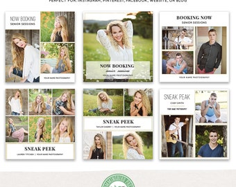 Booking Now, Sneak Peak Social Media Templates: Instagram, Facebook, Blog Boards, Website, Collage- Set 3 - MKSP03
