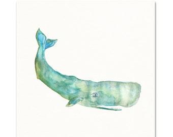 Watercolor Whale Art Print.  Coastal Decor.  Sea life art.  Kids Nursery Wall Art.
