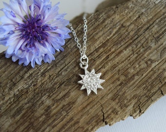 sun necklace, silver charm necklace, bohemian jewelry, you are my sunshine, birthday gift, gift for her, gift under 25, graduation gift
