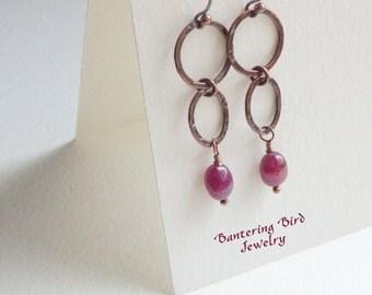 Ruby Earrings, Double Hoops with July Birthstone, Unusual Red Gemstone Earrings, Hammered Copper Jewelry