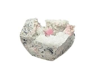 Pink Rhodochrosite Crystals with Quartz in matrix Mineral Specimen from Silverton Colorado hard rock silver ore mine, Geology Earth Science